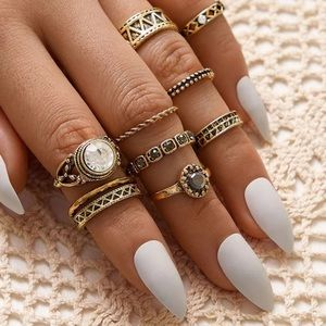 ☀️🆕3/$30 10pc rhinestone engraved textured ring